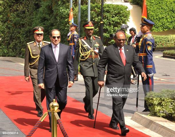 Sudanese President Omar alBashir is welcomed by Egyptian President Abdel Fattah alSisi at Al Ittihadiyah Palace in Cairo Egypt on March 19 2018