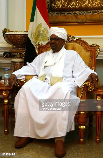 Sudanese President Omar al-Bashir looks on as he meets with the Archbishop of Canterbury in Khartoum on July 30, 2017. The Archbishop of Canterbury...