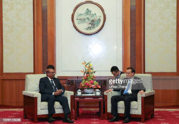 Sudanese President Omar al-Bashir meeting with Chinese Premier Li Keqiang at Diaoyutai State Guesthouse on September 2, 2018 in Beijing, China.