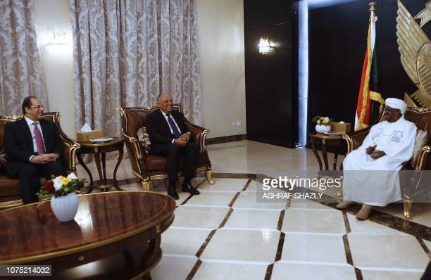 Sudanese President Omar alBashir meets with Egyptian Foreign Minister Sameh Shukri and Egyptian intelligence chief Abbas Kamel in the capital...
