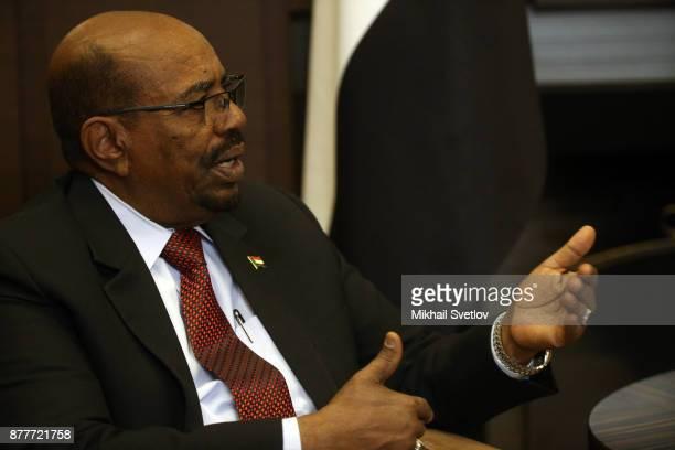 Sudanese President Omar al-Bashir speeches during Russian-Sudanese talks at Black Sea resort on November 2017 in Sochi, Russia.President of Sudan...