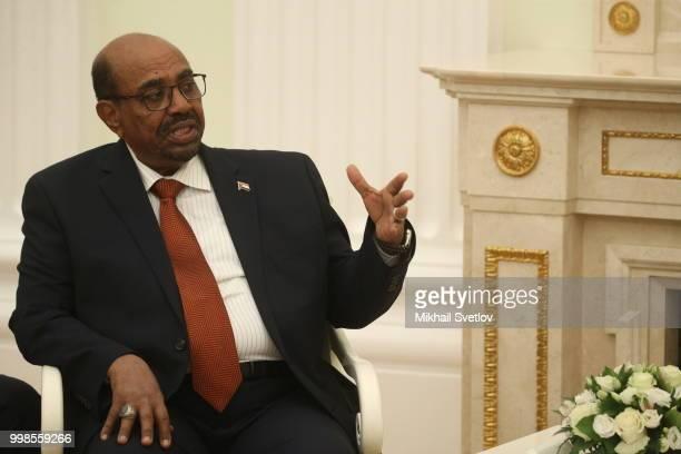 Sudanese President Omar al-Bashir speeches during their Russian-Sudanese talks at the Kremlin, in Moscow, Russia, July 2018. Sudanese President is...