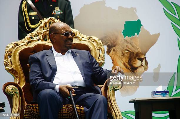 Sudanese President Omar alBashir takes part in a ceremony in his honour upon his return in the country from Ethiopa on July 30 2016 in the capital...