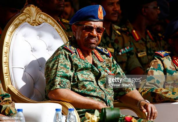 Sudanese President Omar alBashir watches the joint Sudan and Saudi Arabia air force drill at the Marwa air base near Meroe some 350 kilometres north...