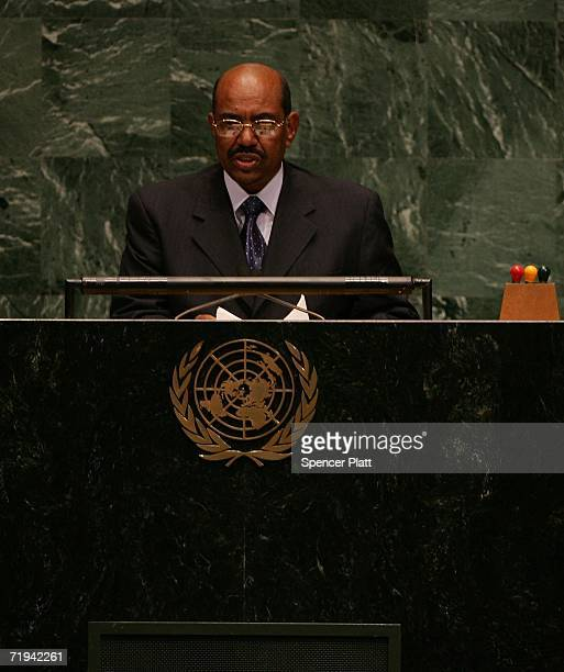 Sudanese President Omar Hassan alBashir addresses the 61st United Nations General Assembly September 19 2006 at the UN in New York City The annual...