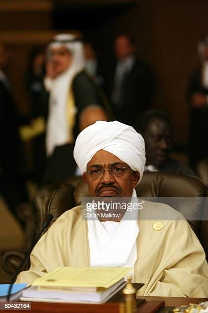 Sudanese President Omar Hassan alBashir attends the second day of the Arab Summit on March 30 2008 in Damascus Syria The Arab summit will be held in...
