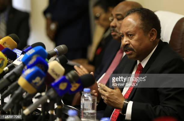 Sudanese Prime Minister Abdalla Hamdok attends the opening session of the Friends of Sudan conference in the capital Khartoum on December 11 which...