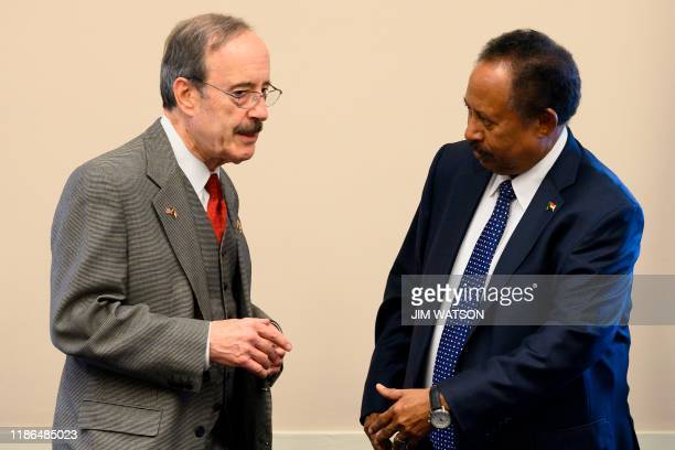 Sudanese Prime Minister Abdalla Hamdok meets with House Foreign Affairs Committee Chairman Eliot Engel DNY on Capitol Hill in Washington DC on...