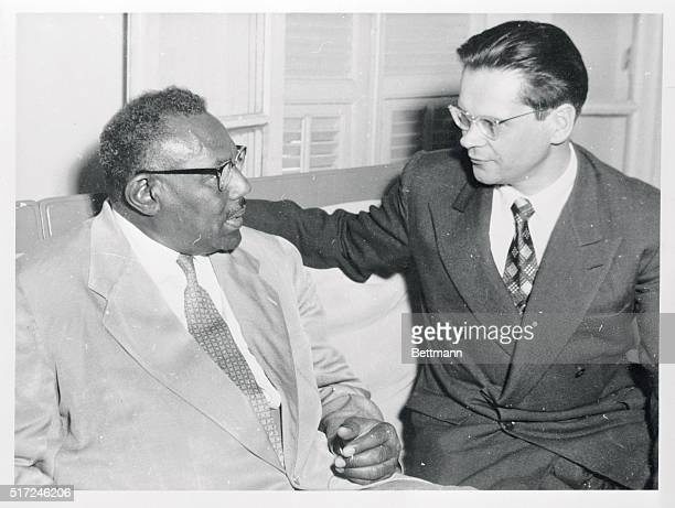 Sudanese Prime Minister Ismail El Azhari with M Crossimus Counsellor of the Russian Embassy at Khartoum during latter's visit to Sudan in April 1956
