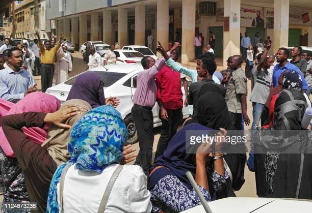 Sudanese protesters take part in an antigovernment demonstration in Khartoum on February 14 2019 Hundreds of Sudanese rallied today including at a...