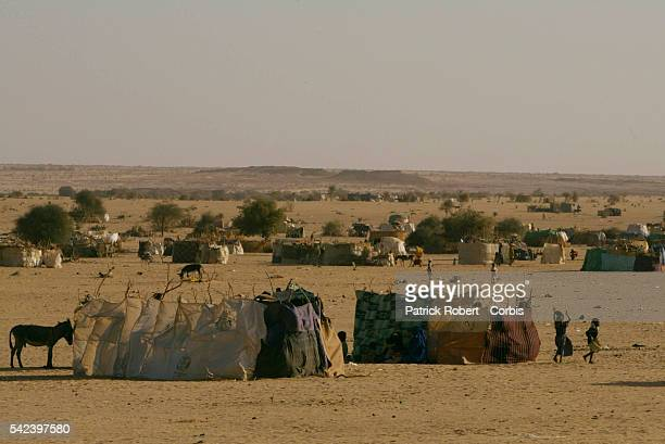 Sudanese refugees have built makeshift shelters on about ten kilometers of desert Nights are very cold | Location TINE Chad