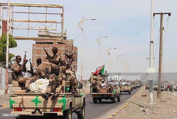 Sudanese soldiers are seen as the second part of the Sudan Army forces arrive in the city to support Saudiled coalition forces in Aden Yemen on...