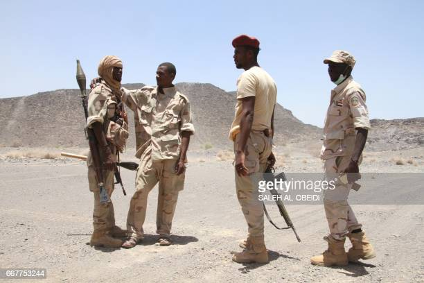 Sudanese soldiers patrol outside the west of the Yemeni coastal port town of Mokha on April 12 2017 The Sudanese army said a day earlier that five of...