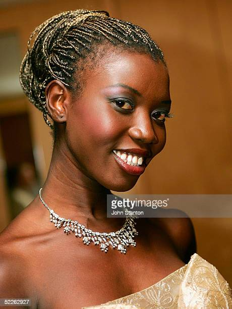 Sudanese tribal princess and model Abang wears a Fairfax Roberts Diamond necklace to be auctioned at the 90th anniversary gala dinner for the...