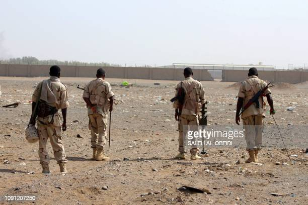 Sudanese troops with a military coalition in Yemen backed by Saudi Arabia and the United Arab Emirates detect mines at a facility of the Red sea...