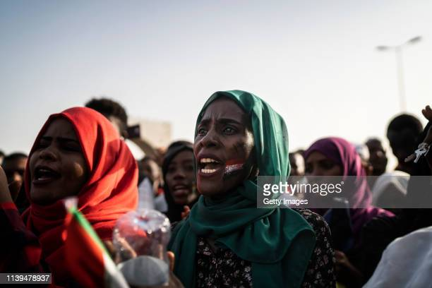 Sudanese woman is taking part in a protest against the military junta on April 26, 2019 in Khartoum, Sudan. After months of protesting from the...