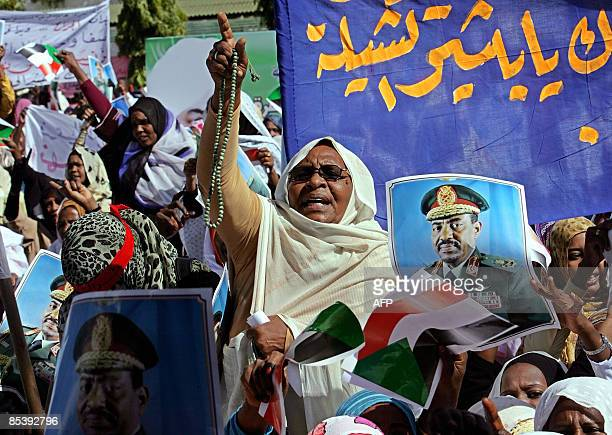 Sudanese women shout slogans during a protest organised by working women in Khartoum on March 12 2008 against the International Criminal Court's...