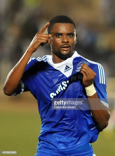 Sudan's ElHilal player Mohammd Bashir celebrates after scoring a goal during their Group A CAF Champions League football match in Khartoum Stadium in...