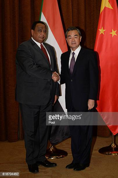 Sudan's Foreign Minister Ibrahim Ahmed Abd alAziz Ghandour shakes hands with Wang Yi Foreign Minister of China ahead of their meeting on October 28...