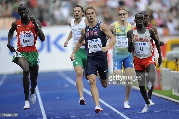 Sudan's Ismael Ahmed Ismail US Nick Symmonds and Bharain's Belal Mansoor Ali compete in the men's 800m round 1 race of the 2009 IAAF Athletics World...