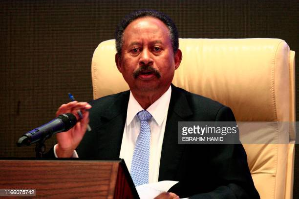 Sudan's new Prime Minister Abdalla Hamdok speaks during a press conference unveiling the first cabinet since veteran leader Omar al-Bashir's...