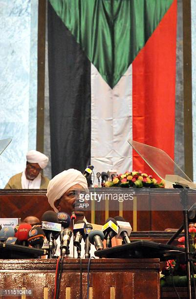 Sudan's President Omar alBashir addresses MPs at the Parliament in Khartoum on April 4 2011 as South Sudanese MPs were absent from the opening...