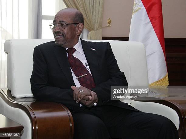 Sudan's President Omar al-Bashir meets with South African President Jacob Zuma in Khartoum, Sudan on February 01, 2015.
