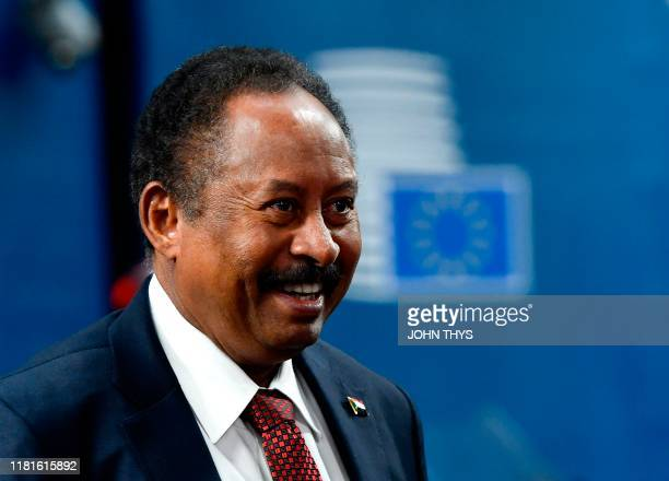 Sudan's Prime Minister Abdalla Hamdok arrives prior to a bilateral meeting with the minister of the European Union for Foreign Affairs and Security...