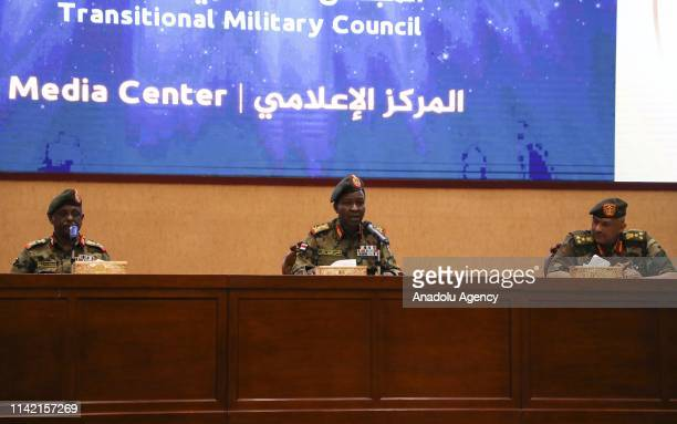 Sudan's ruling Military Council spokesperson Shamseddine Kabbashi makes a speech as he holds a press conference at the Presidential Palace in...