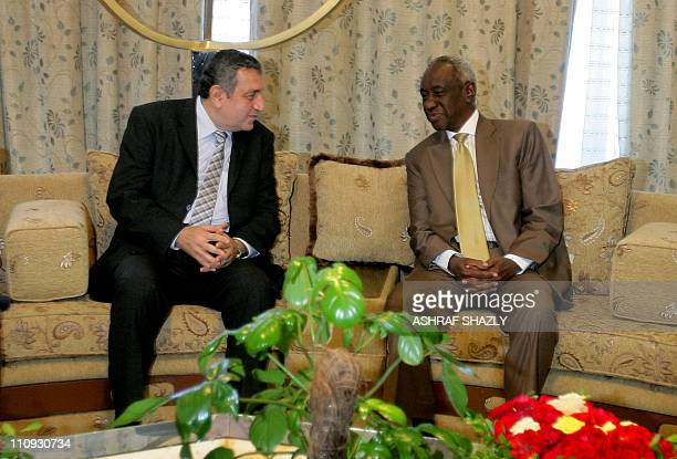 Sudan's Second Vice President Ali Osman Taha meets with Egyptian Prime Minister Essam Sharaf in Khartoum on March 27 2011 as he begins his first...