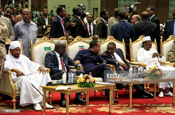Sudan's veteran opposition leader Sadiq al-Mahdi, Chairperson of the African Union Commission Moussa Faki Mahamat, Ethiopian Prime Minister Abiy...