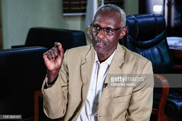 Sudan's water and irrigation minister Yasser Abbas gives an interview with AFP at his office in the capital Khartoum on February 6, 2021. - Sudan...