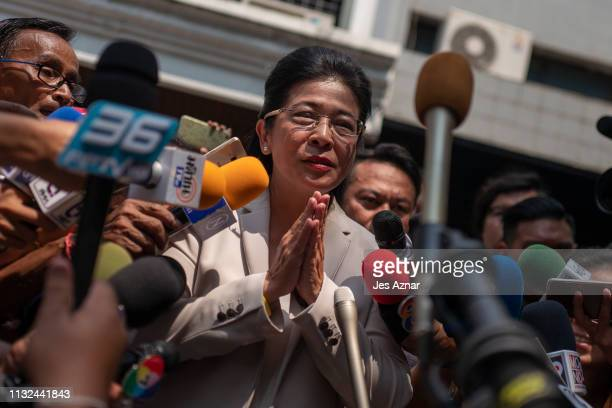 Sudarat Keyuraphan Pheu Thai Party's candidate for prime minister at a polling station to cast her ballot on March 24 2019 in Bangkok Thailand Around...