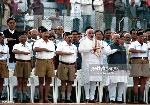 Sudarshan Rashtriya Swayamsewak Sangh Sarsanghchalak Narendra modi Keshubhai patel and others at 29th RSS Vishwa Sangh sivir in Ahmedabad Gujarat...
