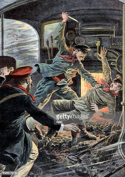 Sudden madness in Russia engine driver stabbing his fireman collegue lastpage of newspaper Petit Journal june 13 1909