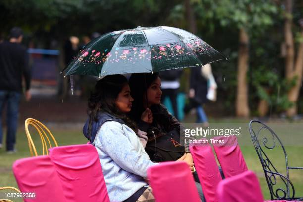 Sudden rain drops the temperature during the ZEE Jaipur Literature Festival 2019 as people rushed to take cover at Diggi Palace on January 24 2019 in...