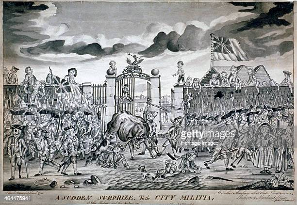 'A sudden surprize to the City Militia ' 1774 The gateway of the Honourable Artillery Company headquarters Children climbing and sitting on the walls...