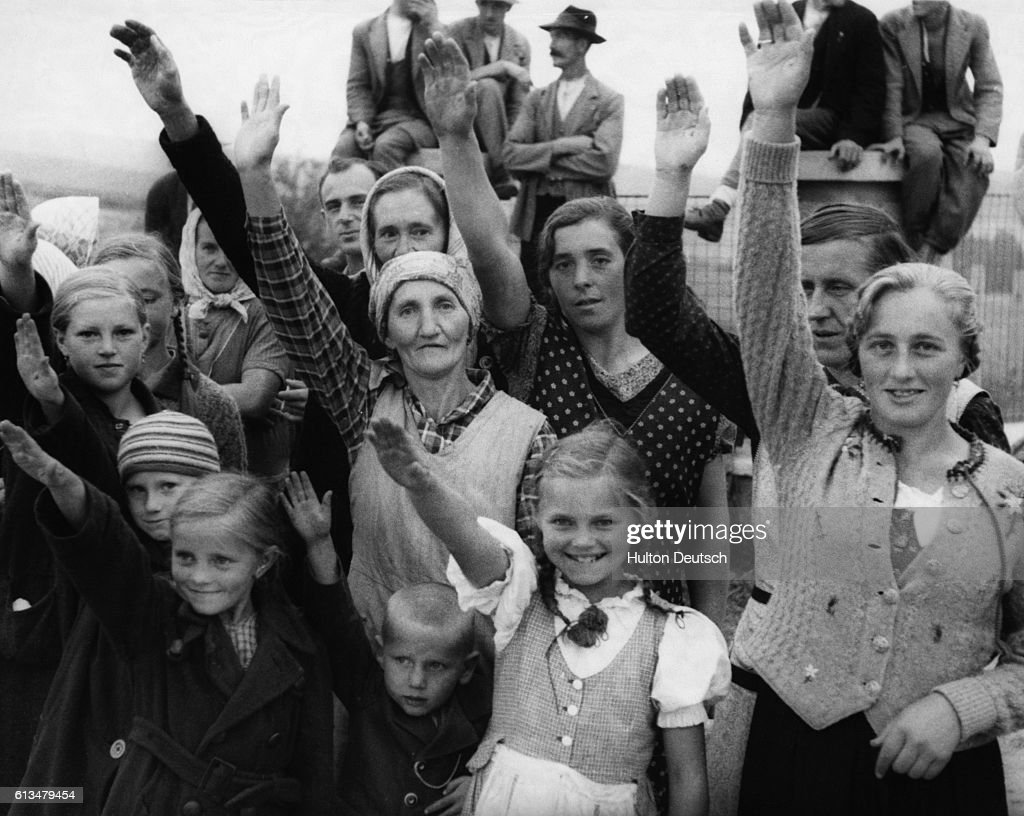 Sudeten-Germans Salute the Arrival of Nazi Soldiers in Austria, 1938 : News Photo