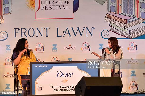 Sudha Sadhanand Aishwaryaa Rajnikanth Dhanush speak at 'Standing on an Apple Box Memoirs and Memories' session at the ZEE ZEE Jaipur Literature...