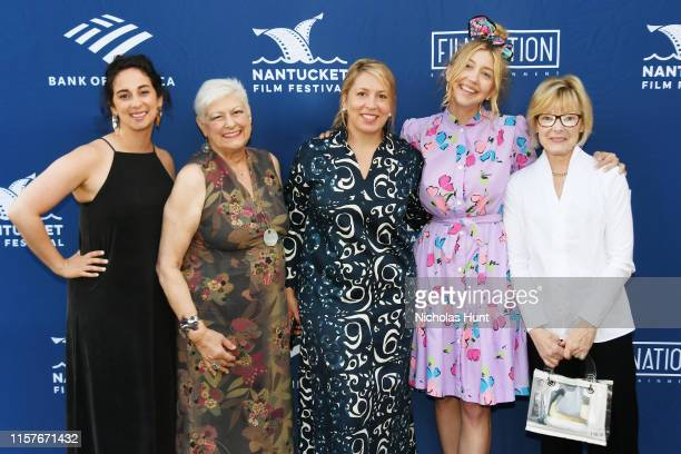 Sudi Green, Anne Beatts, NFF Executive Director Mystelle Brabbee, Heidi Gardner and Jane Curtin attend the Screenwriters Tribute at Sconset Casino...
