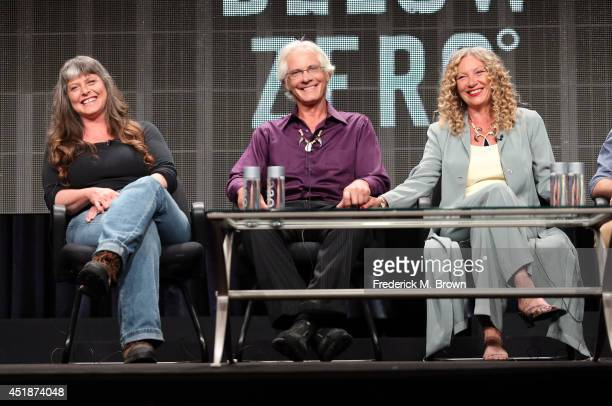 Sue Aikens Andy Bassich and Kate Rorke speak onstage at the Life Below Zero panel during the National Geographic Channels portion of the 2014 Summer...