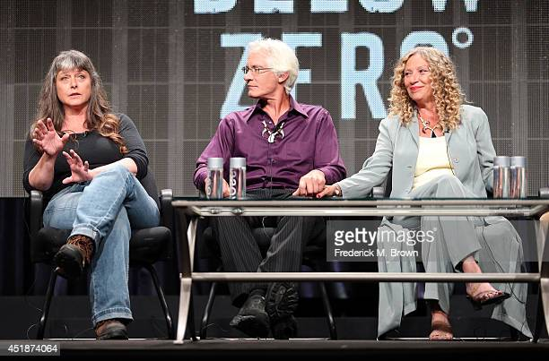 Sue Aikens Andy Bassich and Kate Rorke speak onstage at the 'Life Below Zero' panel during the National Geographic Channels portion of the 2014...