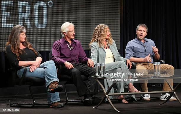 Sue Aikens Andy Bassich Kate Rorke and executive producer Travis Shakespeare speak onstage at the 'Life Below Zero' panel during the National...