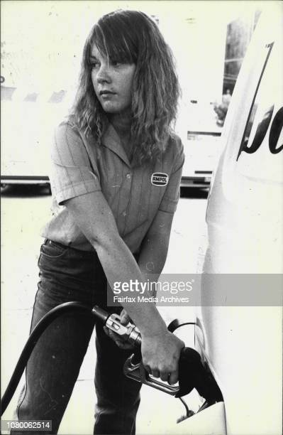 Sue Allen who pumps petrol at the Ampol Station Elizabeth Albion Street Surry Hills November 16 1982