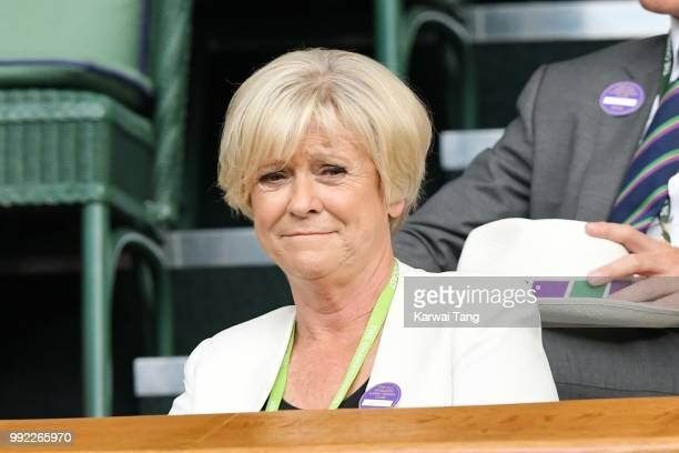 Sue Barker attends day four of the Wimbledon Tennis Championships at the All England Lawn Tennis and Croquet Club on July 2 2018 in London England