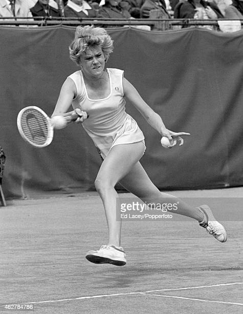 Sue Barker of Great Britain in action at the British Hard Court Tennis Championships in Bournemouth circa May 1976