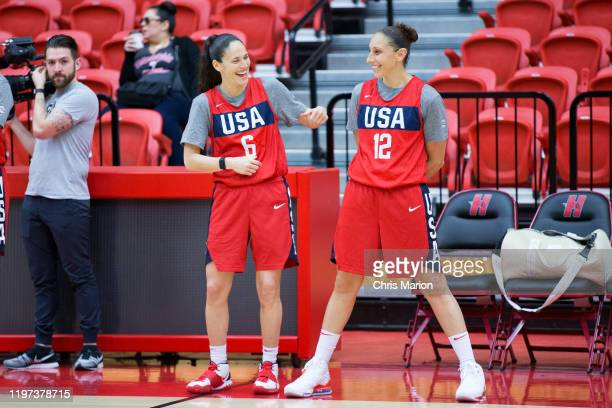 Sue Bird and Diana Taurasi of the United States Women's basketball team practice on January 26 2020 at the University of Hartford's Chase Arena in...