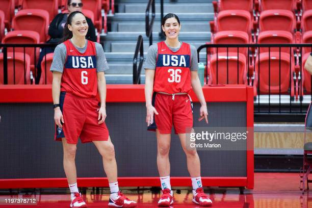 Sue Bird and Kelsey Plum of the United States Women's basketball team practice on January 26 2020 at the University of Hartford's Chase Arena in West...