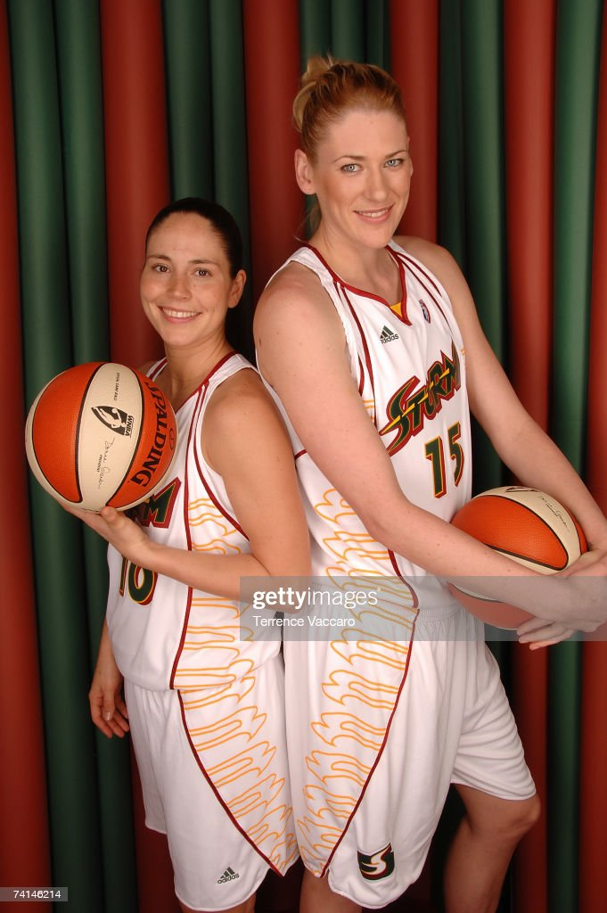 Sue Bird #10 and Lauren Jackson #15 of the Seattle Storm pose for a portrait during Storm Media Day on May 14, 2007 at the Furtado Center in Seattle, Washington.