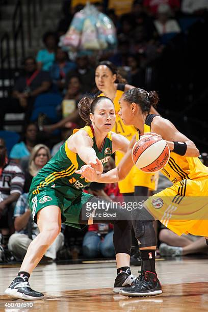 Sue Bird defends against the Tulsa Shock during the WNBA game on June 15 2014 at the BOK Center in Tulsa Oklahoma NOTE TO USER User expressly...